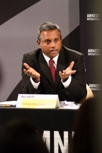 Salil Shetty, Amnesty International Secretary General speaking at the Press launch of the Amnesty International Report 2011, at the International Secretariat in London, UK, 12 May 2011. (c) Amnesty Interntional
