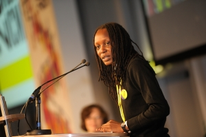 Kasha Jacqueline Nabagesara speaking at Amnesty International's International Council Meeting, the Netherlands, August 2011. (c) Karen Veldkamp / Amnesty International